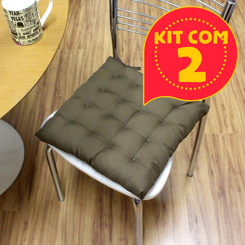 aef2c43b32849f Kit com 2 almofadas futon assento para cadeira - marrom