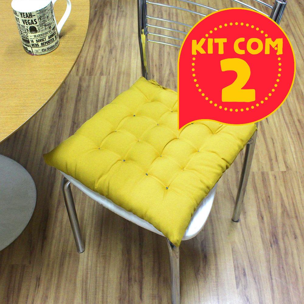 13e8056af668f9 Kit com 2 almofadas futon assento para cadeira - mostarda