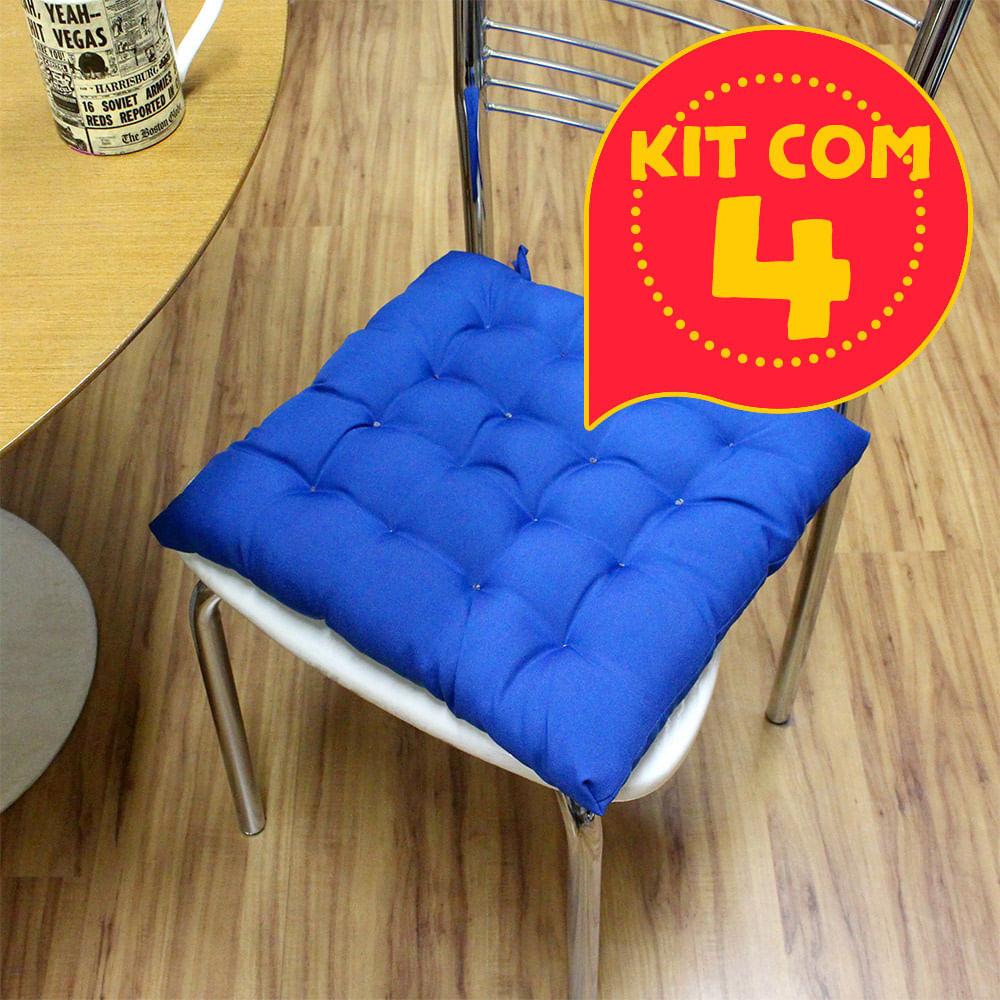 ca43d71c601a2f Kit com 4 almofadas futon assento para cadeira - azul